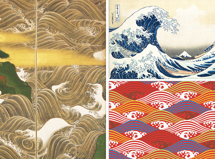 pintar el agua-olas-arte japonesa