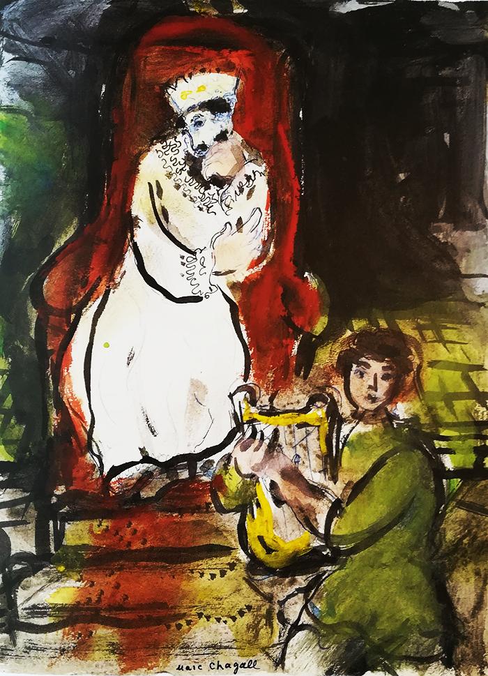 chagall-biblia-zorro rojo-david apacigua saúl con sus cantos